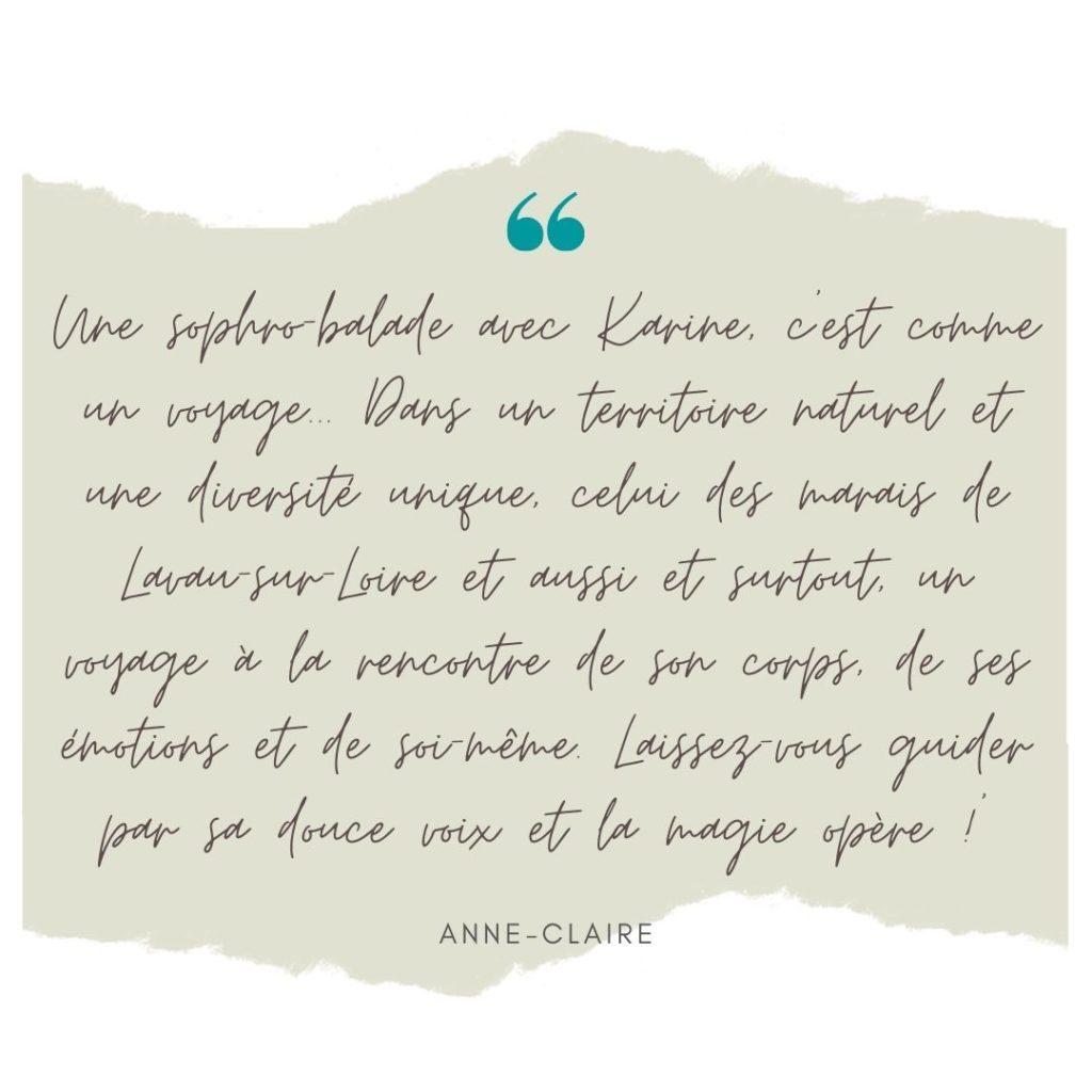 Sophro et nature. Témoignage. Karine Agnez Sophrologie Coaching - Savenay, Lavau-sur-Loire
